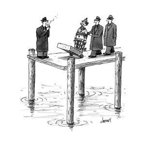Mobsters wheel out a clown with a long block of cement around his shoes.  - New Yorker Cartoon by Tom Cheney