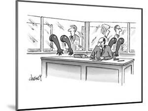Nasty looking executive at desk surrounded by glass partitions with rubber? - New Yorker Cartoon by Tom Cheney