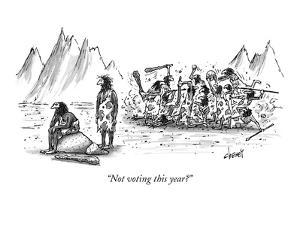 """Not voting this year?"" - New Yorker Cartoon by Tom Cheney"