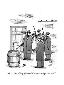 """""""O.K., first things first?did everyone sign the card?"""" - New Yorker Cartoon by Tom Cheney"""