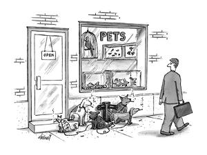 Pet store with dogs and cat outside, tied to a fire hydrant, and smoking c? - New Yorker Cartoon by Tom Cheney