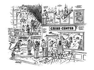 Police & firemen arrive at building where there is a raging fire; people a? - New Yorker Cartoon by Tom Cheney