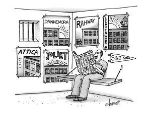 Prisoner's cell has pennants and posters from all the prisons he's been in? - New Yorker Cartoon by Tom Cheney