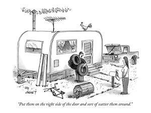 """""""Put them on the right side of the door and sort of scatter them around."""" - New Yorker Cartoon by Tom Cheney"""