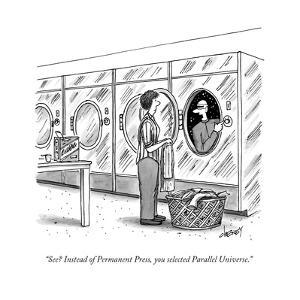 """See? Instead of Permanent Press, you selected Parallel Universe."" - New Yorker Cartoon by Tom Cheney"