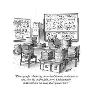 """Thank you for submitting the enclosed formula, which proves and solves th..."" - New Yorker Cartoon by Tom Cheney"