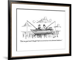 """""""That one good novel I thought I had in me turned out to be a hormonal imb?"""" - New Yorker Cartoon by Tom Cheney"""