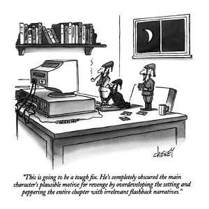 """""""This is going to be a tough fix.  He's completely obscured the main chara?"""" - New Yorker Cartoon by Tom Cheney"""