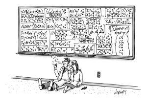 Two mathematicians sitting beneath a giant chalkboard smoking. - New Yorker Cartoon by Tom Cheney