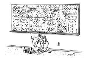 Two mathematicians sitting beneath a giant chalkboard smoking. - New Yorker Cartoon by Tom Cheney