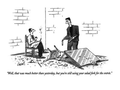 """""""Well, that was much better than yesterday, but you're still using your sa?"""" - New Yorker Cartoon by Tom Cheney"""