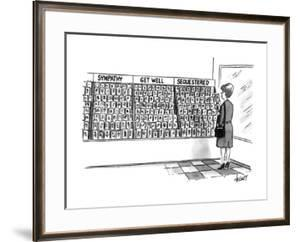 Woman standing at display of greeting cards for 'Sequestered'. - New Yorker Cartoon by Tom Cheney
