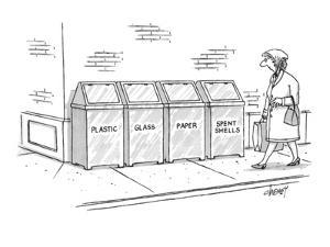Woman walking passes recycling bins for Plastic, Glass, Paper, Spent Shell? - New Yorker Cartoon by Tom Cheney
