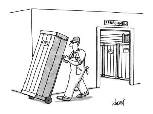 Workman moves crate, on dolly, from room labeled 'Personnel.'  Similar cra? - New Yorker Cartoon by Tom Cheney