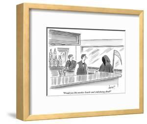 """""""Would you like another Scotch-and-embalming-fluid?"""" - New Yorker Cartoon by Tom Cheney"""