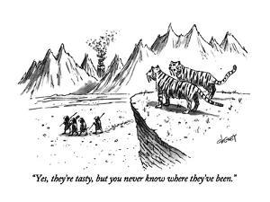"""Yes, they're tasty, but you never know where they've been."" - New Yorker Cartoon by Tom Cheney"