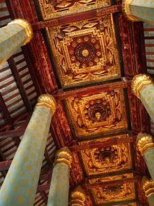 Blue Hexagonal Columns Supporting Ornate Ceiling, Ayuthaya Historical Park, Thailand by Tom Cockrem