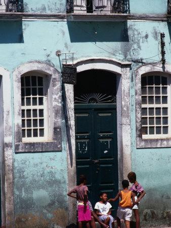 Children on Street in the Pelourinho District, Salvador, Brazil
