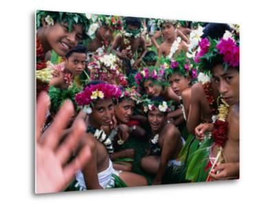 Crowd of People Wearing Flowers at Independence Day Celebrations, Fiji