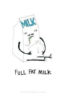 Full Fat Milk - Tom Cronin Doodles Cartoon Print by Tom Cronin