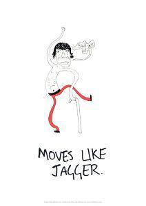 Moves Like Jagger - Tom Cronin Doodles Cartoon Print by Tom Cronin