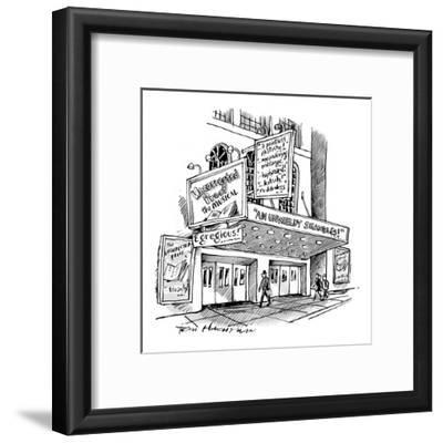 """A theater marquee advertises a show called """"Uncorrected Proof: The Musical"""" - New Yorker Cartoon"""