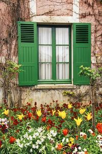 Green shutters at a window overlooking a garden in France by Tom Haseltine
