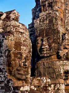 Stone Carvings in Bayon Temple, Angkor Thom near Angkor Wat, Cambodia by Tom Haseltine
