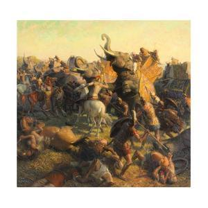 A Painting Depicts Alexander the Great Battling an Indian Army by Tom Lovell