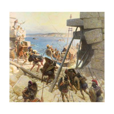 A Painting Depicts Macedonian Soldiers Attacking Tyre