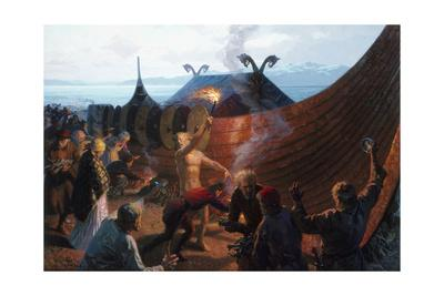 A Painting of a Viking Cremation