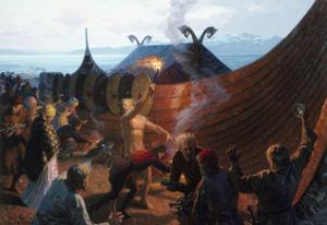 A Painting of a Viking Cremation by Tom Lovell