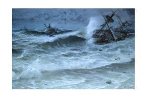 Hurricane Shatters Homebound Spanish Treasure Fleet Near Florida by Tom Lovell