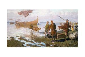 Vikings Land at Vinland on Newfoundland by Tom Lovell