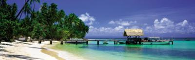 Beach and Jetty with Boat, Pigeon Point, Tobago, Caribbean