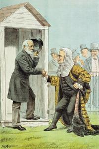 Goodbye to Judge Clark, from 'St. Stephen's Review Presentation Cartoon', 8 Dec 1888 by Tom Merry
