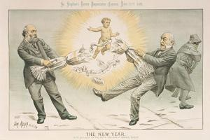 The New Year, from 'St. Stephen's Review Presentation Cartoon', 31 December 1887 by Tom Merry