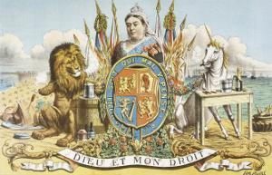 Victoria Depicted with Her Loyal Lion by Tom Merry