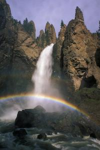 A Rainbow over Tower Creek Falling 132 Feet in One Clear, Straight Drop at Tower Fall by Tom Murphy