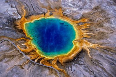 Grand Prismatic Spring, a Hydrothermal Feature in Yellowstone National Park