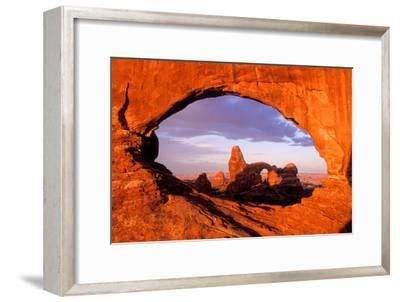 Turret Arch Seen Through North Window at Sunrise