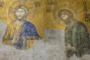 Christian Wall Mosaic. Hagia Sophia. Istanbul. Turkey by Tom Norring
