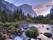 Half Dome with Sunset over Merced River, Yosemite, California, USA-Tom Norring-Photographic Print