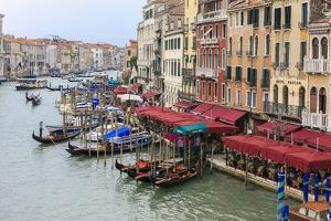 Grand Canal Restaurants and Gondolas. Venice. Italy by Tom Norring