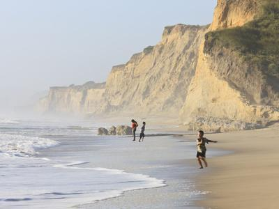 Kids Playing on Beach, Santa Cruz Coast, California, USA
