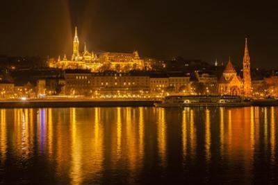Matthias Church. Nightscape. Danube River Surroundings. Budapest. Hungary by Tom Norring