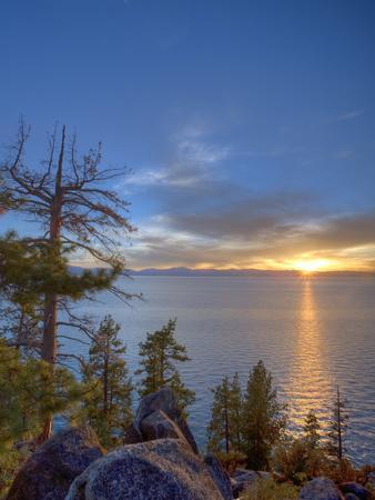 Sunset at Logan Shoals on the East Side of Lake Tahoe, Nevada, USA