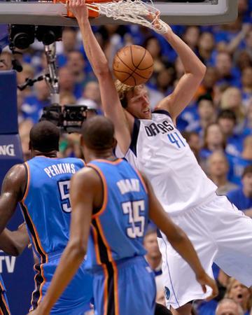 Oklahoma City Thunder v Dallas Mavericks - Game Two, Dallas, TX - MAY 19: Dirk Nowitzki, Kendrick P