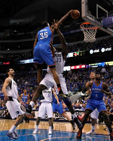 Oklahoma City Thunder v Dallas Mavericks - Game Two, Dallas, TX - MAY 19: Kevin Durant and Brendan