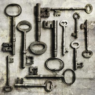 Collection of Antique Keys in a Square